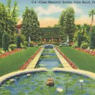Vintage 1940's Linen Postcard Cluett Memorial Garden Palm Beach Florida C-4