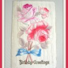 Antique Embossed Flower 1912 Postcard Birthday Greetings Vintage