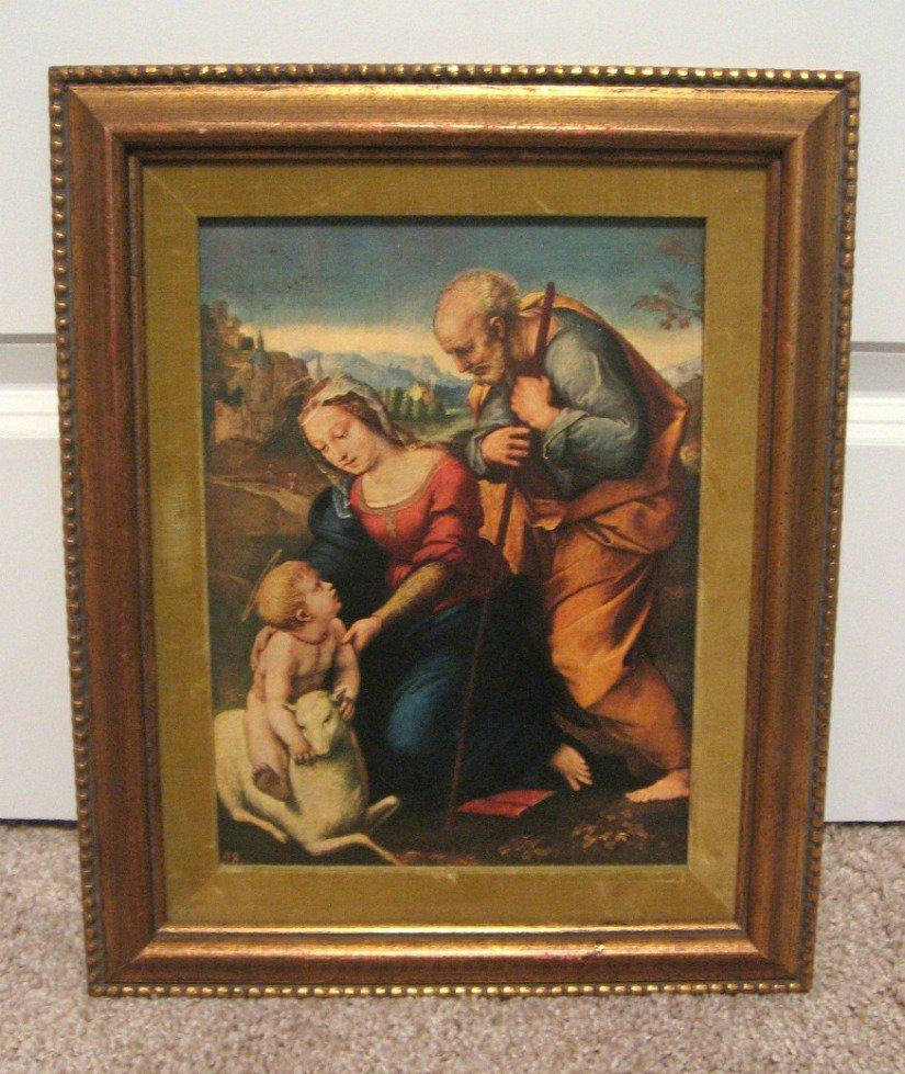 The Holy Family Framed Artwork Print 15x12 Vintage 50's Religious