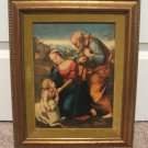 The Holy Family Framed Artwork Print 15x12 Vintage 50's Religious