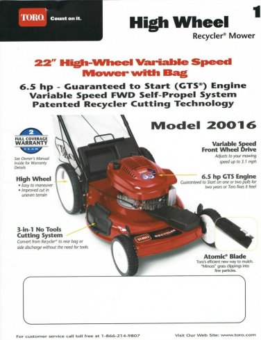 "Operators Manual Instruction Book Toro High Wheel 22"" Recycler Lawn Mower 20016 English Spanish"
