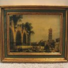 Vintage Print Fancy Wood Frame Rome Artist Canaletto 19 x 15 Artwork Italy The Basilica of Massenlio