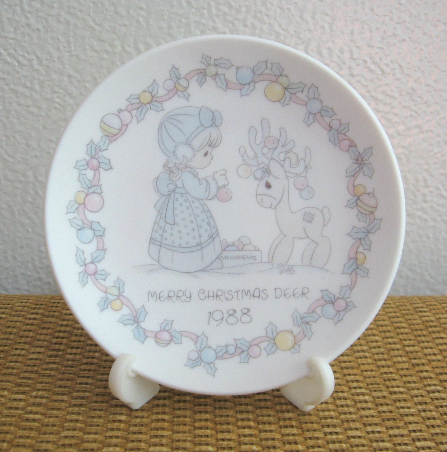 Vintage Enesco Precious Moments Merry Christmas Deer 1988 Porcelain Plate with Stand Figurine