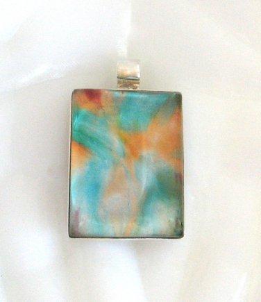 Large Dichroic Glass Stone Pendant Sterling Silver 925 Funky Colors Aqua Orange
