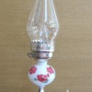 "Hurricane Lamp White Milk Glass Flower Design Electric 60 Watt Vintage Retro 1960's 17"" Tall"