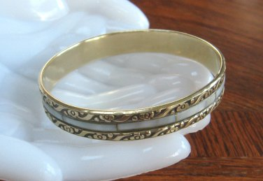 Vintage Mother of Pearl Brass Bangle Bracelet Retro 1970s