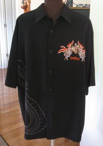 Men's Vintage Black Collar Shirt Size XL Dragons & Skulls By Designer JNCO