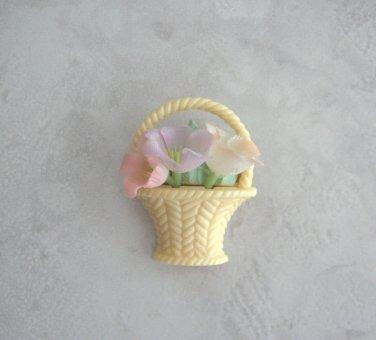Vintage Bouquet Flower Basket Brooch By Hallmark Cards Retro 1982 Pin