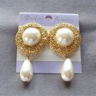 Large Chunky Cabochon Pearl Teardrop Dangle Earrings Gold Filigree Retro Vintage