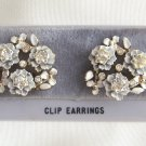 White Flower Rhinestone Clip On Earrings Vintage 1950s Retro