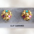 Green Pink Colored Rhinestone Jeweled Clip On Earrings Vintage 1980s