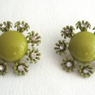 Large Green Cabochon Flower Rhinestone Clip On Earrings Vintage 1950s