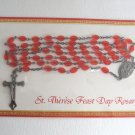 St. Therese Feast Day Rosary Orange Red Flat Oval Beaded Religious Christianity