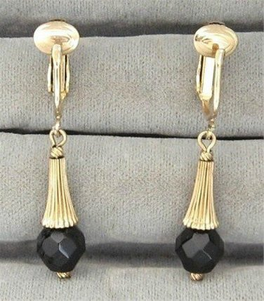 Black Glass Bead Dangle Clip On Earrings Designer Sarah Coventry Dancing Jet Vintage 1960s