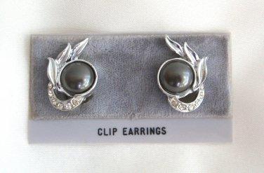 Fancy Gray Cabochon Rhinestone Clip On Earrings Vintage 1950s