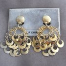 Chunky Retro Gold Circle Dangle Clip On Earrings Vintage 1960s Shabby Chic