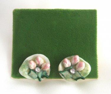 Porcelain Flower Bone China Retro Screw Back Earrings Vintage 1940s