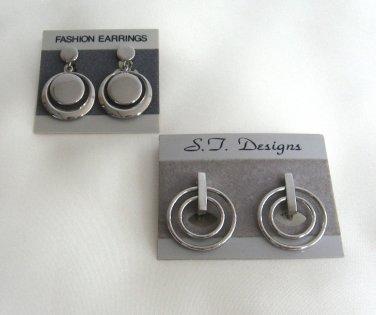 Silver Hoops Clip On Earrings 2 Pair Retro Vintage 1970s