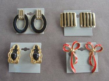 4 Pair Clip On Earrings Colorful Gold Red Black Hoop Bows Vintage 1970s