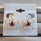 Old Red Stone Gold Flower Earrings Retro Vintage 1950s