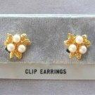 Triple Pearl Gold Leaf Clip On Earrings Designer Avon Vintage 1970s