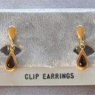 Red Stone Pear Cut Gold Clip On Earrings Designer Avon Vintage 1970s