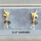 Dangle Bead Rhinestone Clip On Earrings Vintage 1970s