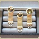 Multi Colored Amber Brown Rivoli Stone Gold Mesh Cufflinks By Designer Dante Vintage