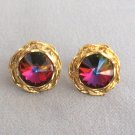 Multi Colored Rainbow Large Rivoli Stone Cufflinks Vintage 1960s