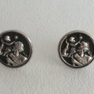 Silver & Black Cufflinks Figural Man & Child Religious Saint Icon Vintage 1950s