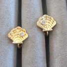 Gold Shell Rhinestone Clip On Earrings By Avon Vintage 1970s