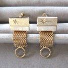 Gold Mesh Rhinestone Cufflinks Vintage 1950s