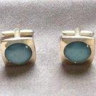 Blue Moonglow Cufflinks By Designer Hickok USA Vintage 1950s