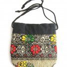 Funky Colored Flower Jewelry Bag Drawstring Vintage 1980s