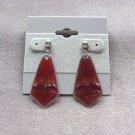 Burgundy Pink Dangle Pierced Earrings Made In Sheffield England Vintage 1970s