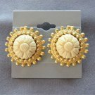 Carved Off White Flower Clip On Earrings Vintage 1980s