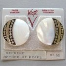 Mother of Pearl Silver Pierced Earrings By Designer Verite Vintage 1980s