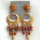 Long Dangle Beaded Hoop Earrings Colorful Retro Funky Vintage 1970s