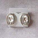 Large Rhinestone Silver Pierced Earrings Vintage 1970s