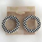 Funky Black & White Retro Circle Hoop Pierced Earrings By Sears Scene IV Vintage 1980s