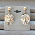 Pink Blue & White Pastel Color Gold Dangle Leaf Clip On Earrings Vintage 1970s