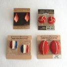 4 Pair Red Enamel Pierced Earrings Vintage 1980s