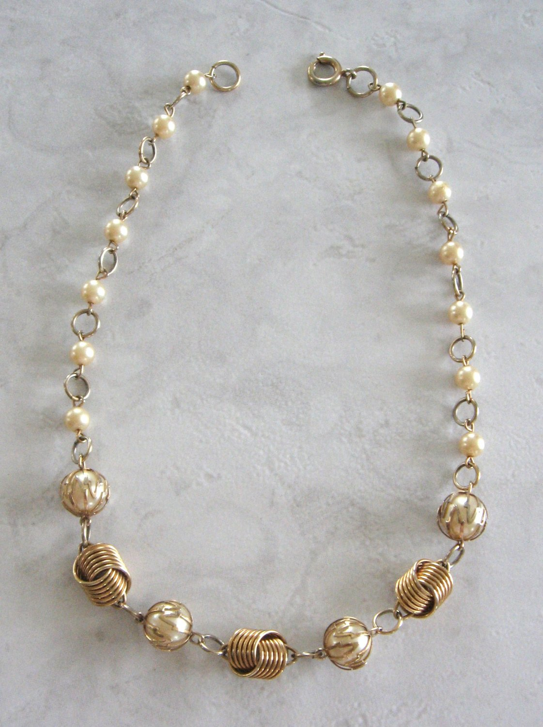 4d6ed86231af4 Gold Wrapped Pearl Beaded Necklace Retro Germany Vintage Jewelry 1950s