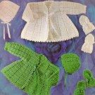 VKNC 014 Retro 60's Coat hat bonnet and bootees Set Crochet Pattern Vintage style pattern