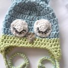 VKNC212 Baby Lazy sleepy owl style animal Hat Crochet Pattern NEW