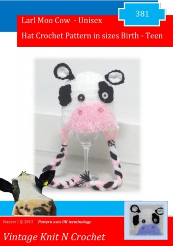 VKNC381 cow Hat Crochet Pattern to make your own
