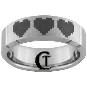 7mm Beveled Tungsten Carbide Satin Finish Band Nintendo 8- Bit Heart Ring Sizes 5-15