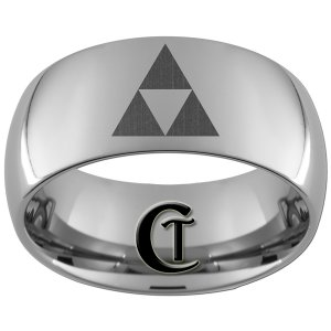 10mm Tungsten Carbide Legend of Zelda Triforce Laser Design Ring Sizes 4-17