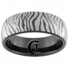8mm Black Dome Tungsten Carbide Laser Zebra Design Ring Sizes 5-15
