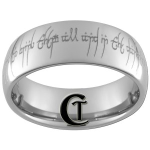 Tungsten Carbide 8mm Dome Lord of the Rings Design Ring Sizes 4-17